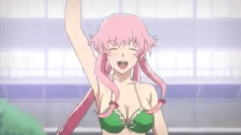 Yuno smiling and waving in a bikini