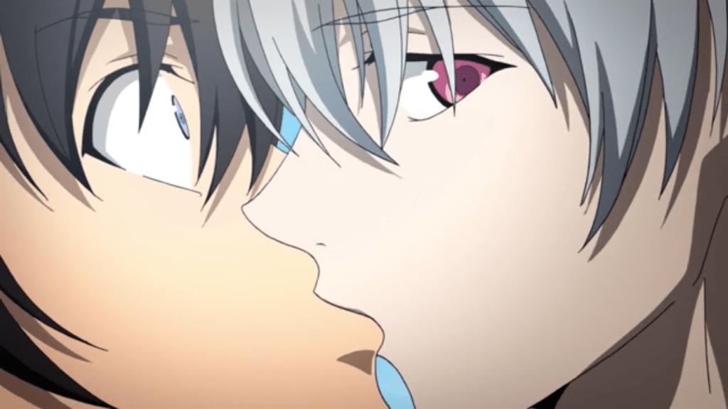 Close-up of Akise kissing a shocked Yuki