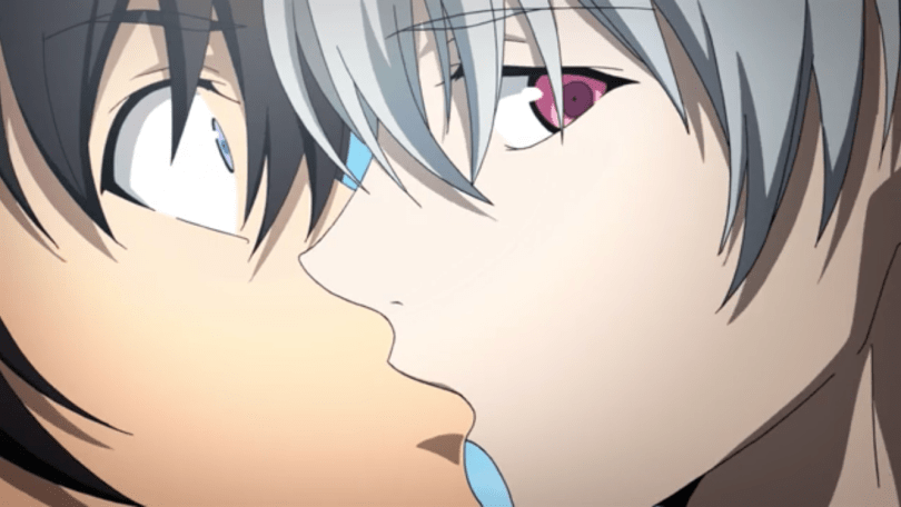 Close-up of Akise kissing a shocked Yuki