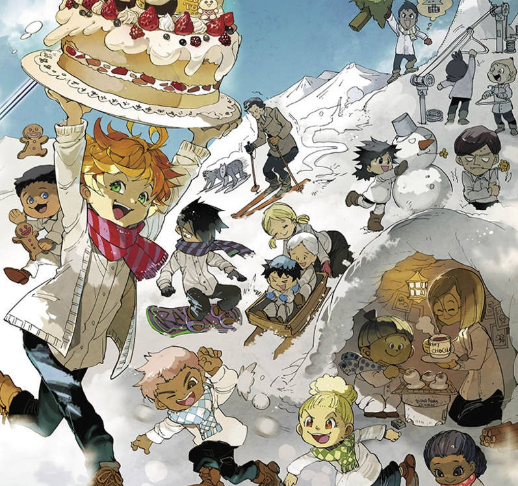 The kids from the Promised Neverland enjoying a snowy day outside. Emma is in the foreground carrying a cake.
