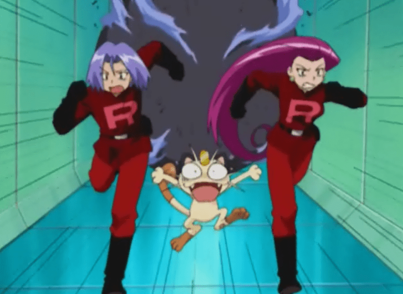 Jessie, James, and Meowth run down a hallway, fleeing a rolling boulder.