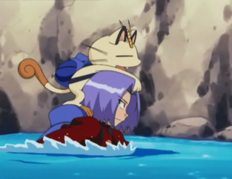 James wades up to his shoulders through water, with Meowth riding happily on his head