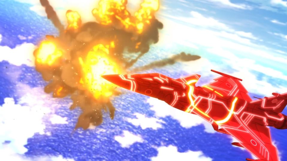 A bright red glowing plane flying with an explosion in the background