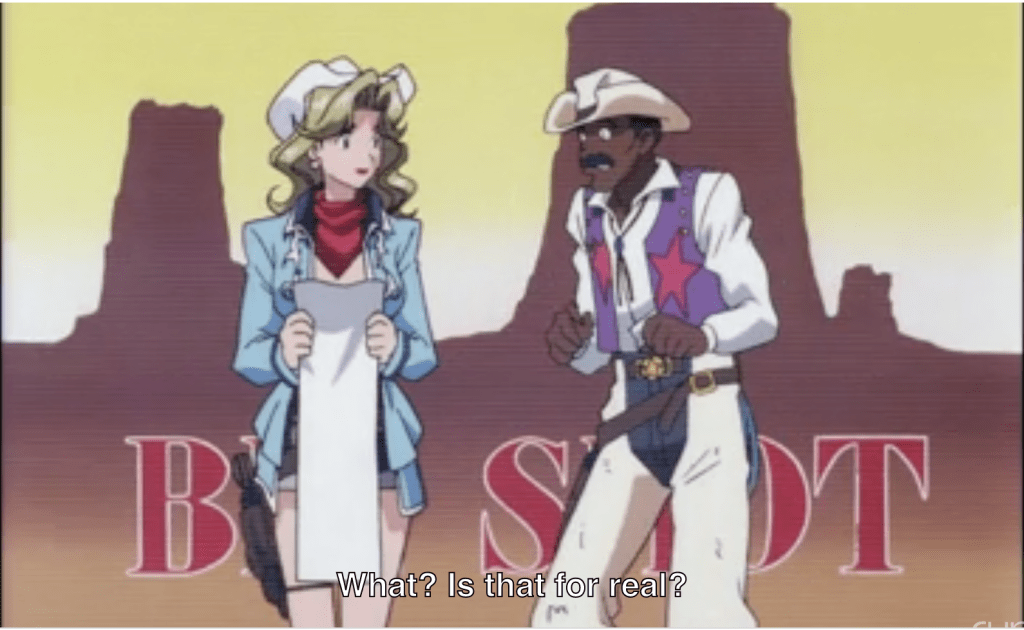 A white woman and Black man dressed in cowboy gear--he looks shocked. subtitle: what? is that for real?