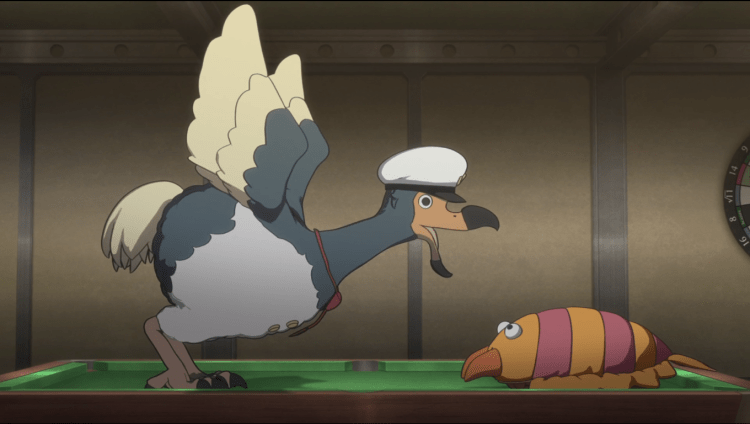 A dodo in a captain's hat flapping its wings and squawking at a large stuffed bug