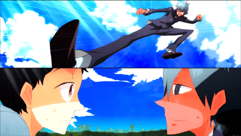 a split screen with a boy kicking down toward the camera on top and the same boy below blushing as someone looks at him, confused