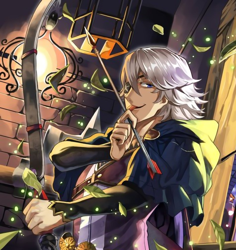 Art of Niles licking an arrow and looking toward the camera