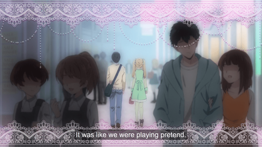 "A girl and a boy walk away from the camera. The shot is framed in pink lace. Subtitles read ""It was like we were playing pretend."""