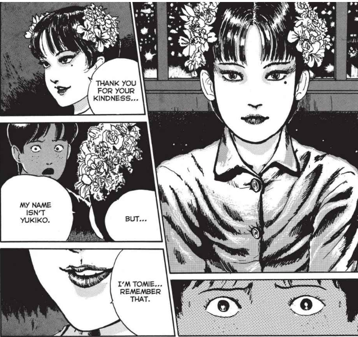 A girl with flowers in her hair revealing that her name is actually Tomie