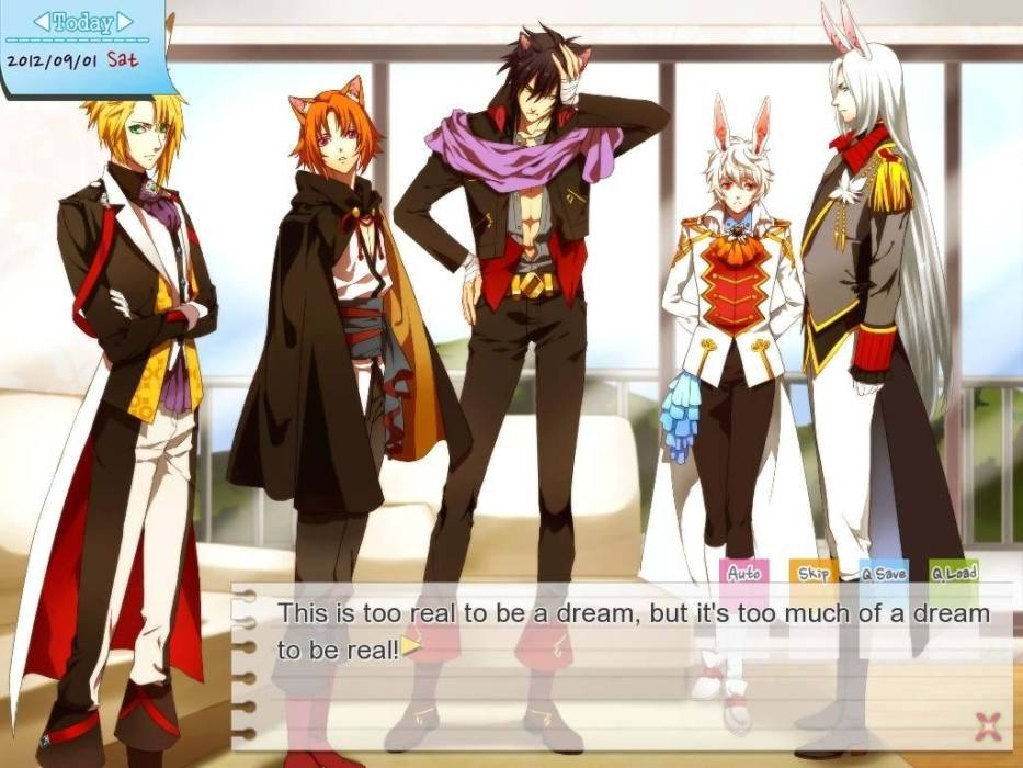 "A group of young men with various animal ears (such as cat and rabbit) stand together. Text reads ""This is too real to be a dream, but it's too much of a dream to be real!"""