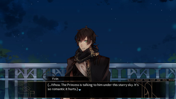 a dark haired man on a moonlit balcony. the narration observes that the atmosphere is terribly romantic