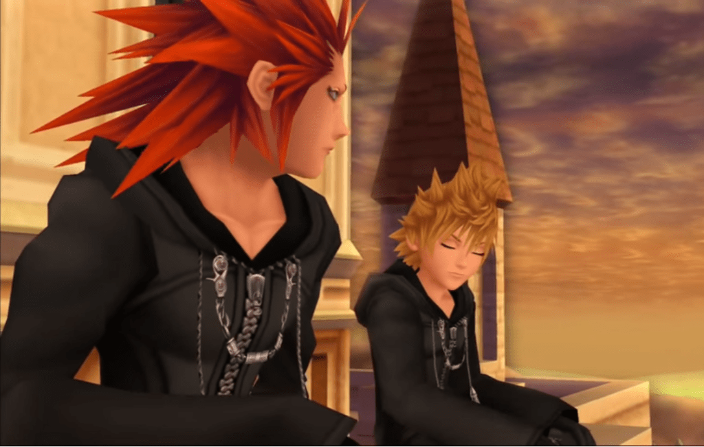 Roxas and Axel sitting on the clock tower at sunset