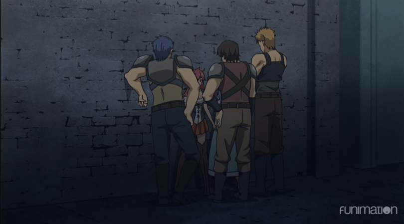 A shot of an alley. A boy is surrounded by taller, older-looking men looming threateningly over him.
