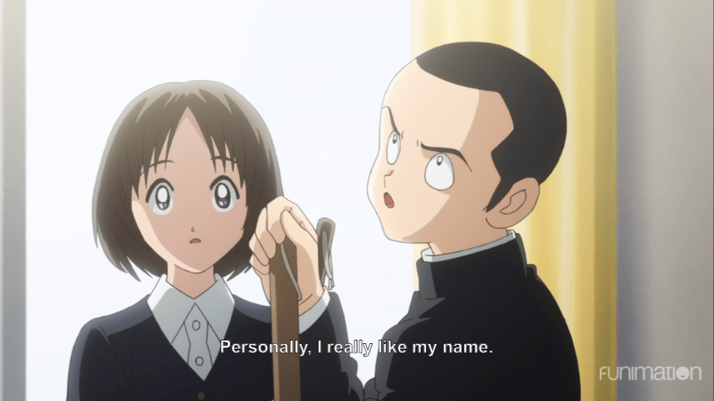 "A boy with a buzz cut looks away from a short-haired girl and says ""Personally, I really like my name."""