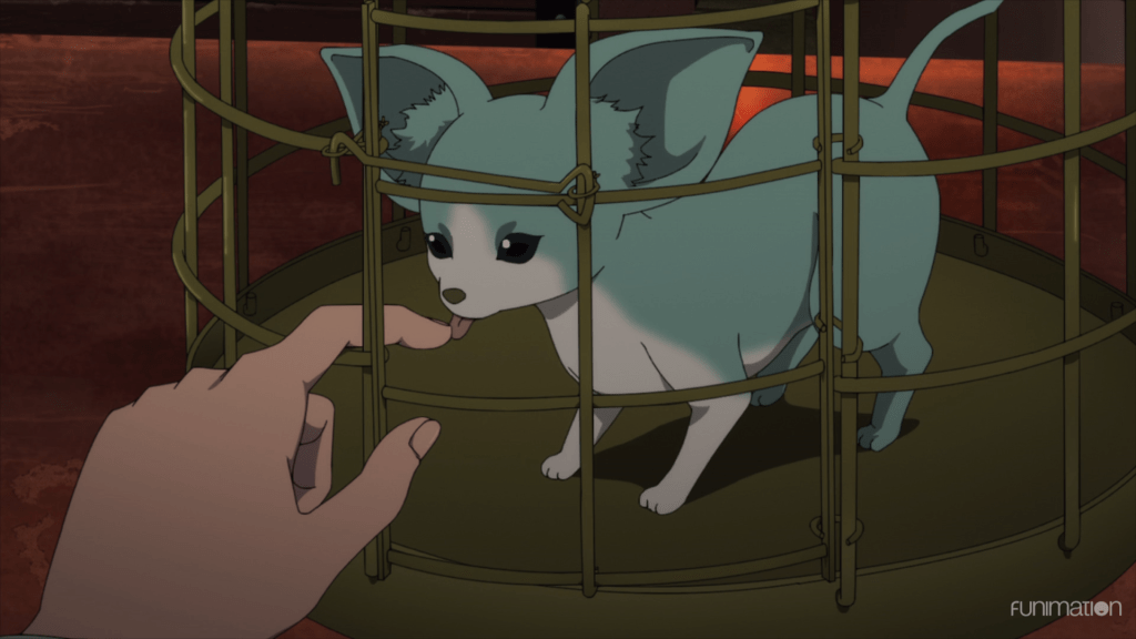 a blue doglike creature in a cage licking Marlya's finger
