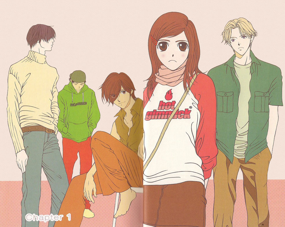 Five of the Hot Gimmick main characters posed against a neutral background, with Hatsumi in the foreground