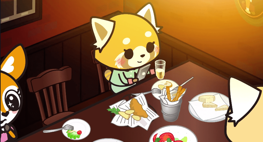 Retsuko smiling at her phone at the table