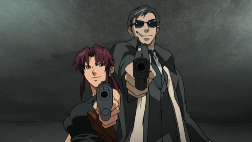 A red-haired woman and a tall man in sunglasses pointing guns toward the camera