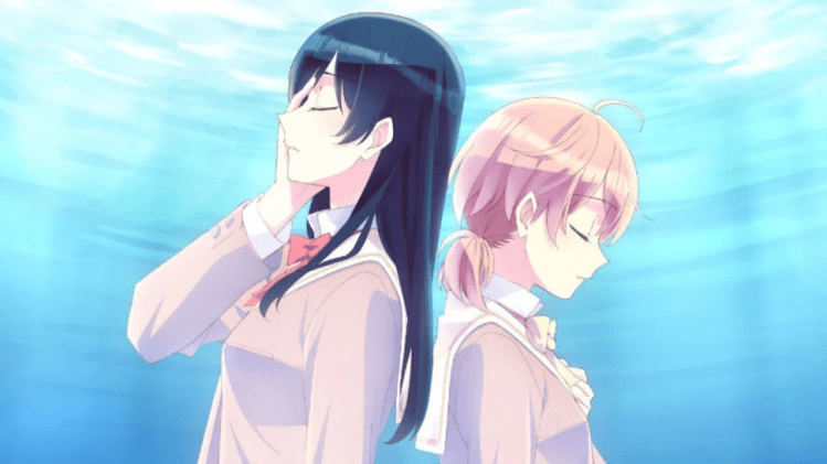 two teenage girls back to back, eyes closed, one with a hand over her eye and the other with a hand on her heart