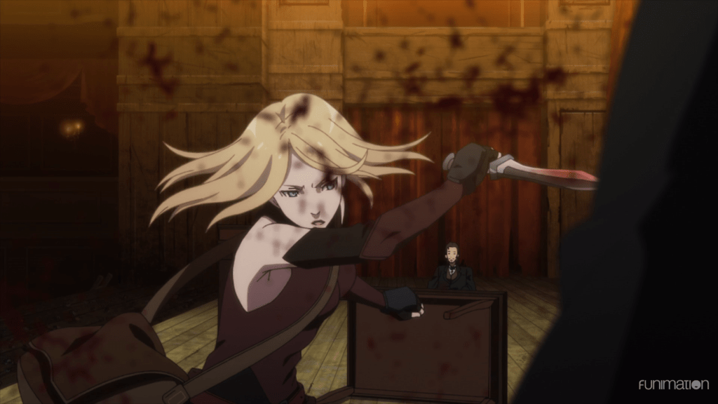 Veronica swinging a knife through an opponent; blood sprays across the screen