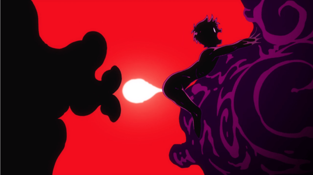 A silhouette of Kazuki's glowing shirikodama being sucked out of his butt