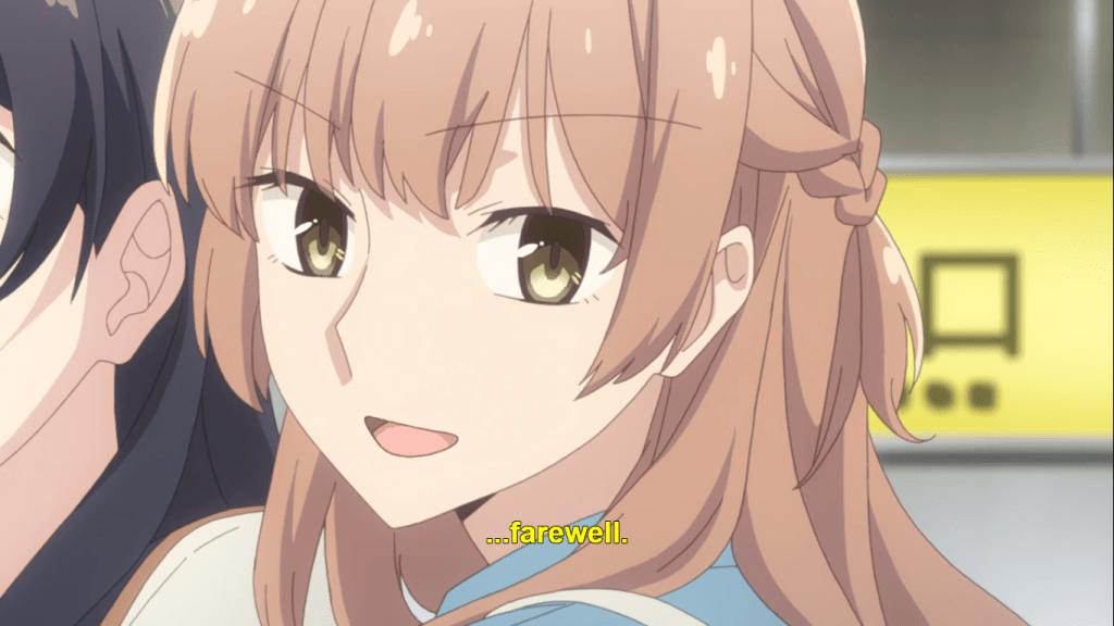 Sayaka smiling. subtitle: Farewell