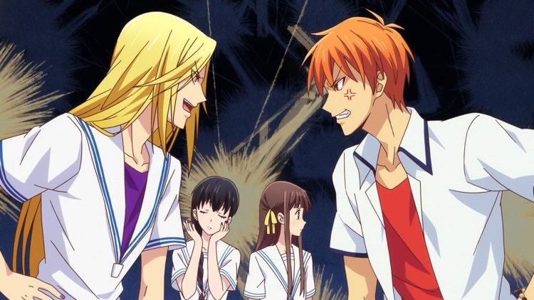 Kyo and Arisa stare each other down while Saki and Tohru look on