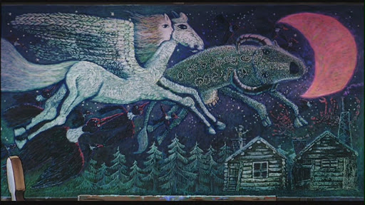 Ursula's painting of a girl flying with a pegasus and a buffalo through the night sky