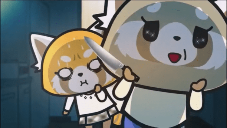 Retsuko from Aggretsuko looking nervous standing behind her mother