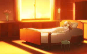 Neko lies in a hospital bed at sunset