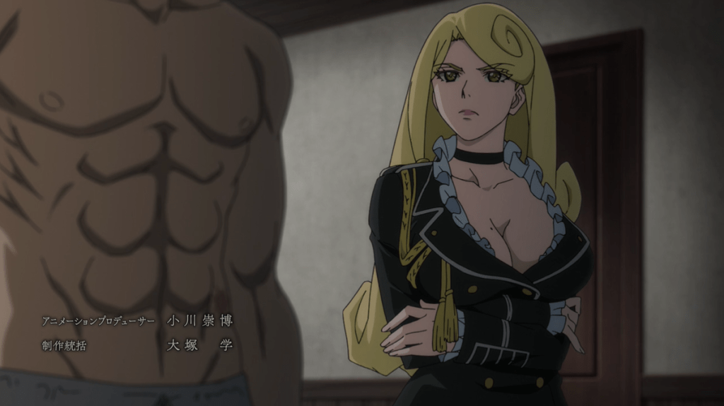 A woman with an extremely busty, revealing outfit standing next to Hank's ridiculously developed abs