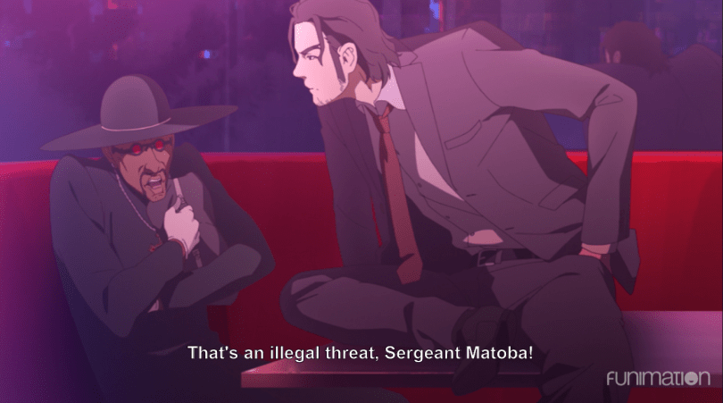 Kei leaning menacingly over his informant, a Black man in a preacher outfit clutching a briefcase. subtitle: That's an illegal threat, Sergeant Matoba!