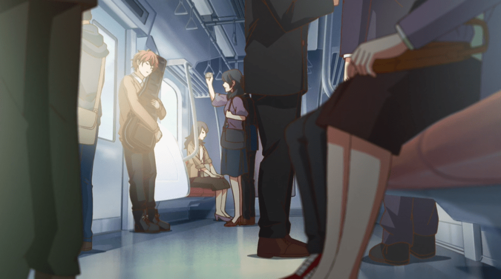 Mafuyu embracing his guitar on the subway, separated visually from all the other passengers