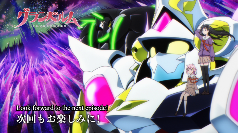 Mangetsu and Shingetsu sitting on the shoulder of a giant robot. Onscreen text: Look forward to the next episode!