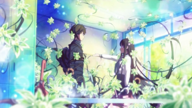 Two teenagers in school uniforms, a boy and a girl, stand in an empty classroom. Glowing, curling, leafy vines surround and entangle them.
