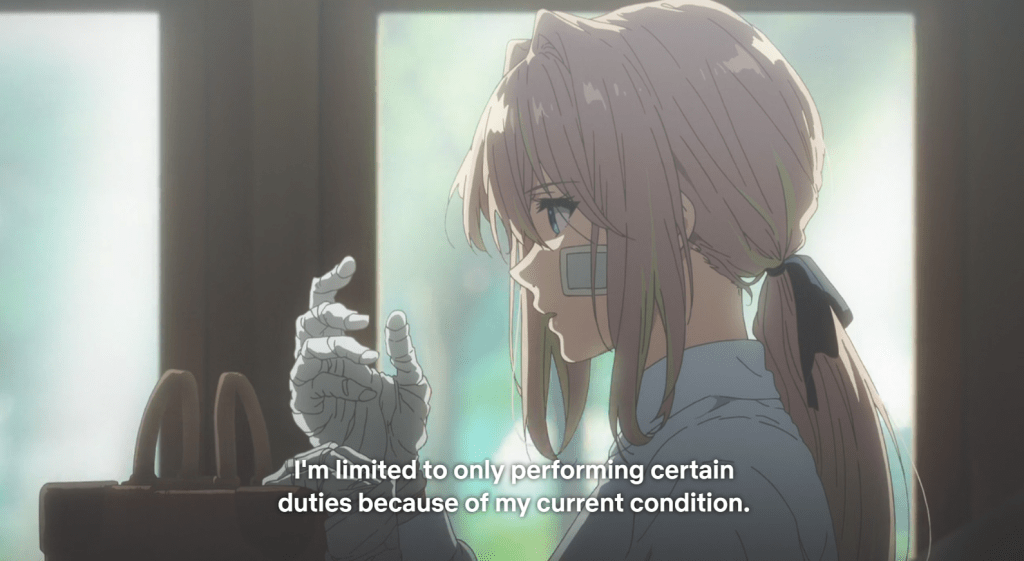 "Violet, sitting in a carriage, staring at her bandaged hand. Subtitles read ""I'm limited to only performing certain duties because of my current condition."""