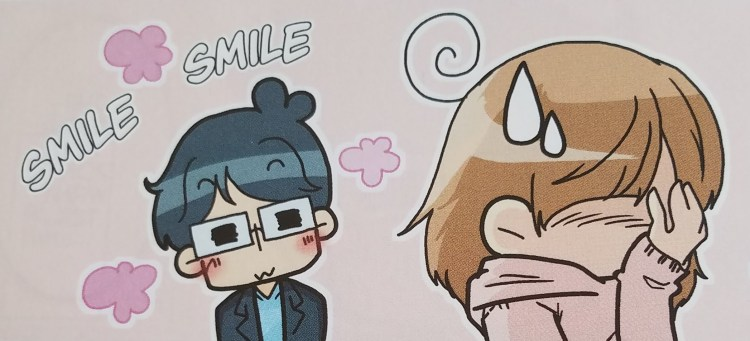 Chibi characters. A young man in glasses smiles with hearts popping up around him. A young woman face-palms and sweatdrops.