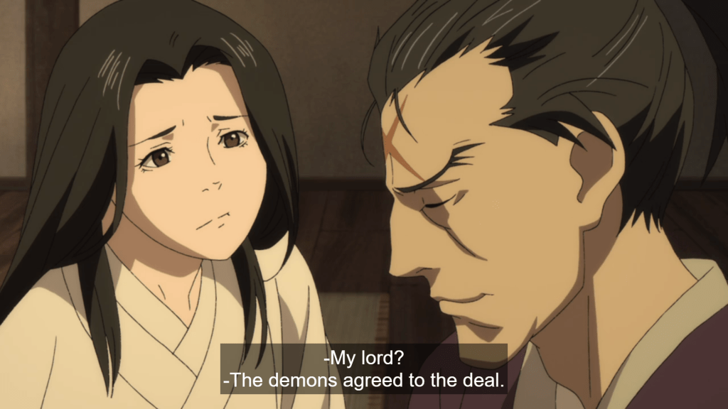 Hyakkimaru's parents talking. subtitle: My lord? / The demons agreed to the deal.