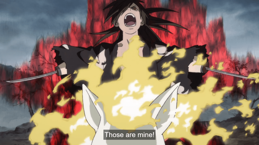 Hyakkimaru in battle screaming, surrounded by fire. subtitle: Those are mine!