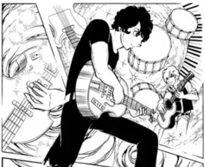 "Manga panel from ""Fire"" of a young man playing a guitar with another young man standing among a swirl of instruments behind him"