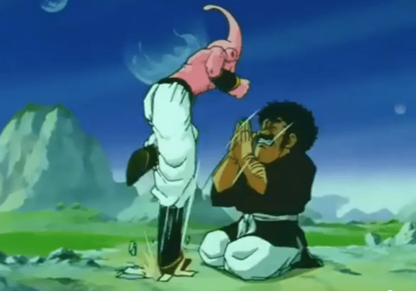Mr. Satan praying for mercy from Kid Buu