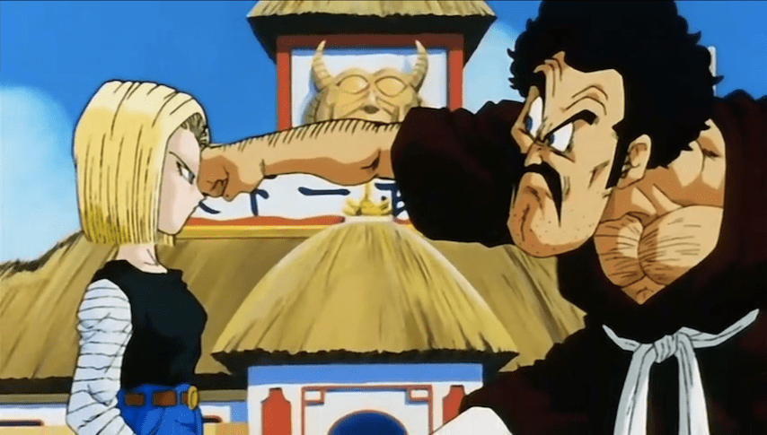 Mr Satan punching a totally unphased Android 18 in the face