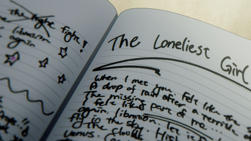 """A notebook with English words scribbled into it. Top of the page reads """"The Loneliest Girl"""""""