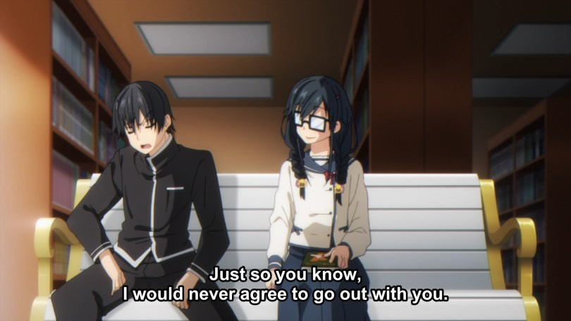 A boy sits legs spread next to a girl with thick glasses and unkempt hair. Subtitle: Just so you know, I would never agree to go out with you.