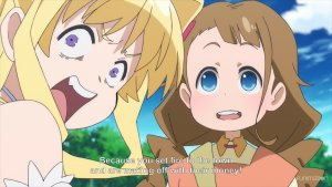 Ristelle from Cautious Hero shouting over her shoulder angrily, next to a confused looking little girl. Subtitle: Because you set fire to the town and are making off with their money!