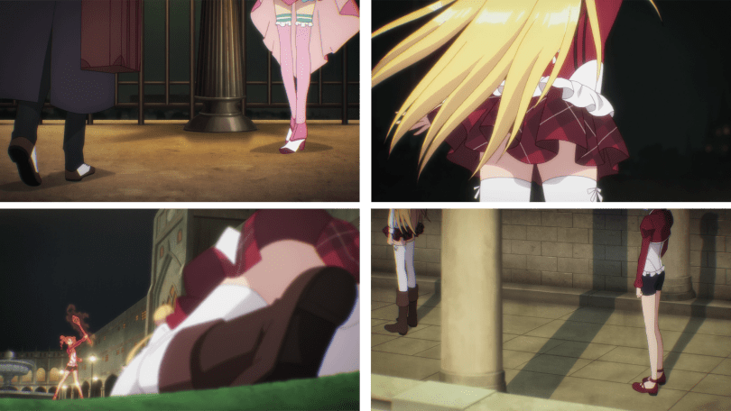 A series of four screen caps that feature faceless girls or women with their thighs exposed.
