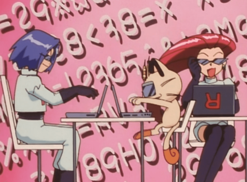 Team Rocket sitting in front of bulky laptops, wearing sleek sunglasses. Numbers and letters scroll across the background.