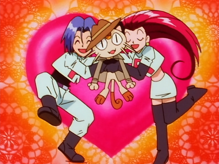 Jessie and James hug Meowth, who is wearing a fedora and trench coat. There is a big heart behind them.