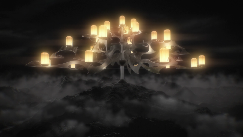 A great chandelier of lamps caps a dark mountain shrouded in mist.