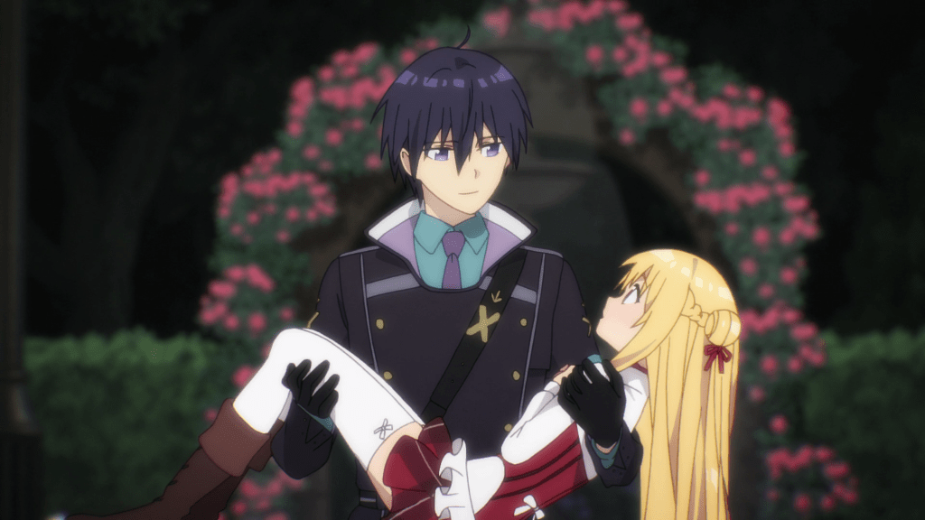 A young man holds a girl in his arms. He looks kindly down at her. She looks surprised
